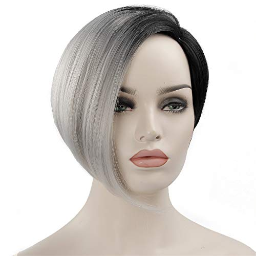 Short Wig For Black Women Ombre Grey Bob Hairstyles Synthetic Pixie Cut Hair Wigs Heat Resistant Women's Fashion Wigs