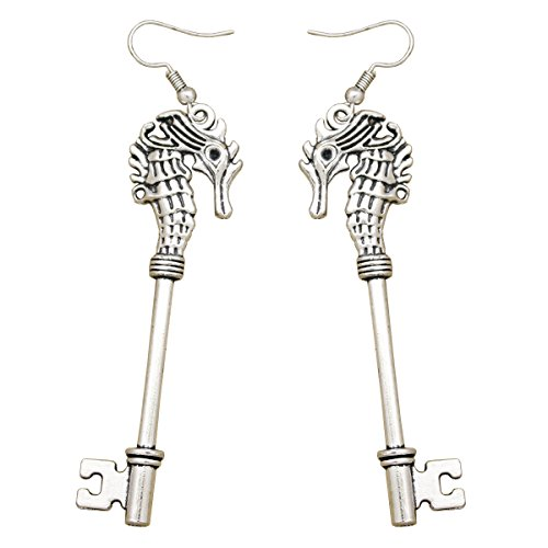 RechicGu Art Deco Victorian 2.7″ Long Seahorse Skeleton Key Steampunk Dangle Earrings