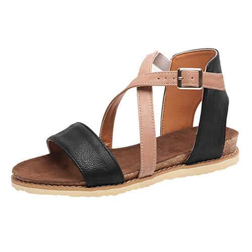 HYIRI New Classic Breathable Flat Zipper Sandals,Women's Summer Peep Toe Beach Breathable Flat Buckle Strap Sandals Rome Shoes Black