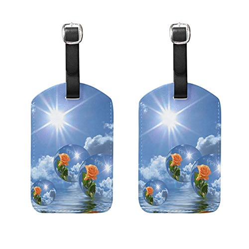 Set of 2 Luggage Tags Lake Water Rose Sunlight Suitcase Labels Travel Accessory