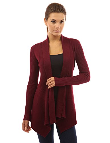 PattyBoutik Womens Ribbed Cascading Cardigan product image