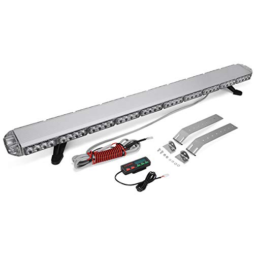 """YITAMOTOR 48"""" 258W Amber White Extreme High Intensity Construction Emergency Warning Security Strobe Light Bar Low Profile Law Enforcement Rooftop Hazard Light Bar for Tow Truck Vehicle - Universal"""