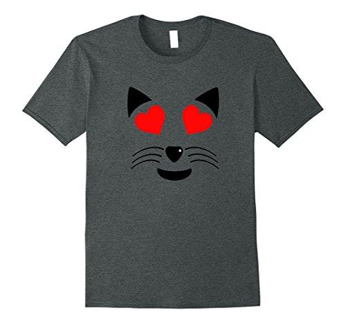 Smiley Costume Halloween (Mens Halloween Costume Emoji Cat Smiley Face Heart Eyes T-Shirt XL Dark Heather)