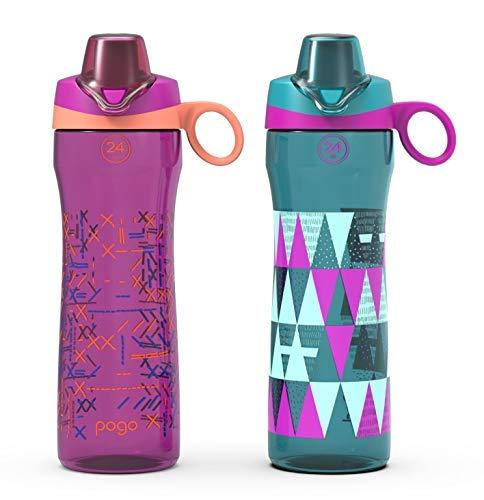 Pogo BPA-Free Tritan Water Bottle with Chug Lid (2 Pack), Rush Pink/Taffy, 24 oz