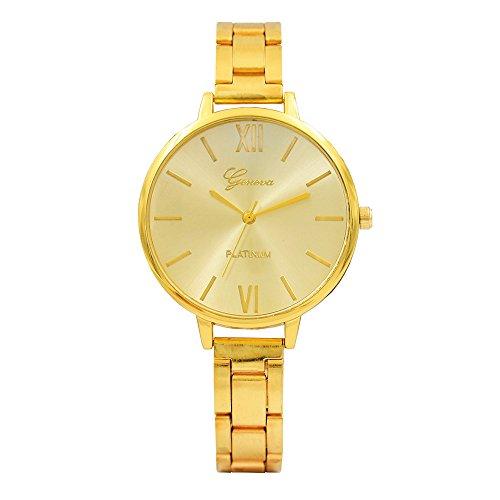 JiaMeng Reloj de Pulsera de Cuarzo analógico de Acero Inoxidable de Acero de uñas para Mujer de Moda y Simple(Oro): Amazon.es: Ropa y accesorios