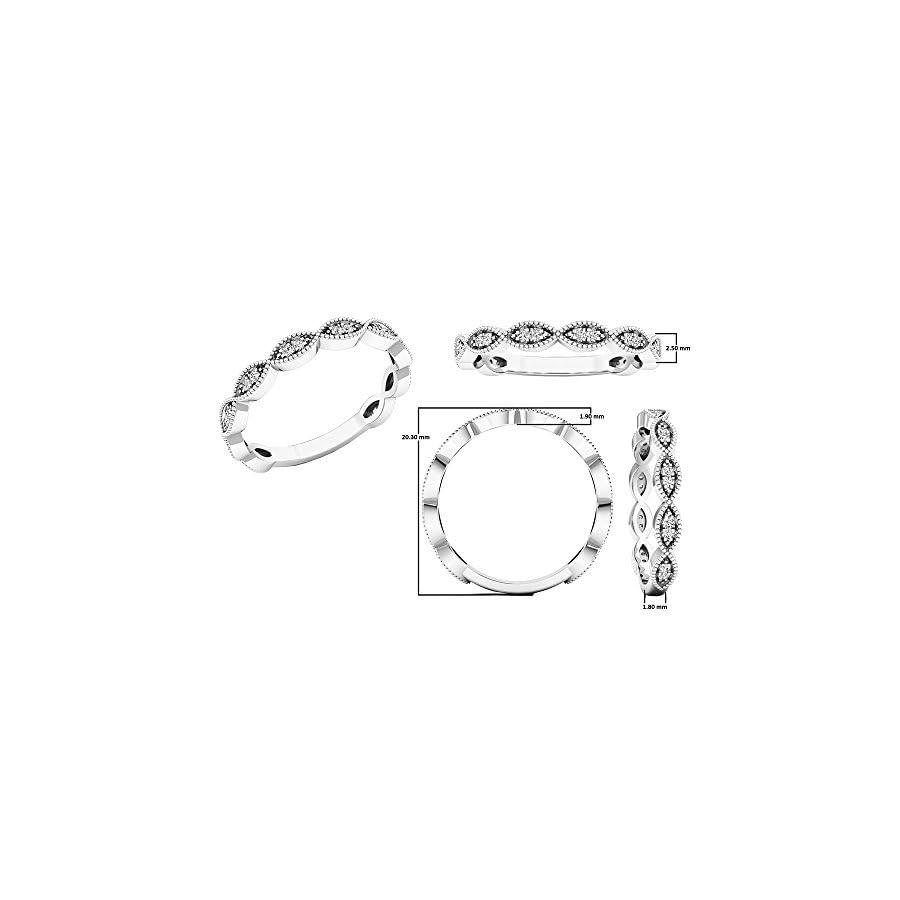 Dazzlingrock Collection 0.12 Carat (ctw) 14K Gold Round White Diamond Ladies Anniversary Wedding Stackable Band