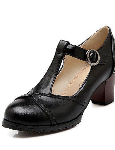 GGX/Damen Schuhe PU Sommer/Herbst Heels/Schuhe Heels Office & Karriere/Casual Chunky Heel Schnallen Schwarz/Braun/Beige brown-us7.5 / eu38 / uk5.5 / cn38