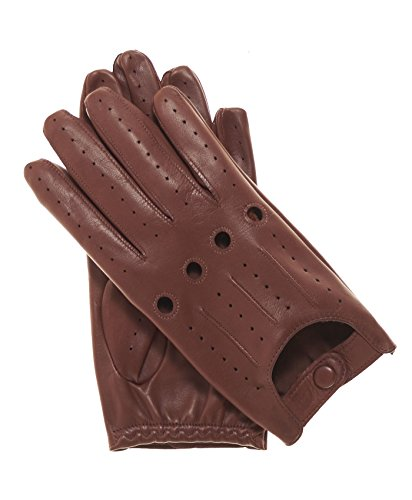 Fratelli Orsini Everyday Men's Italian Lambskin Leather Driving Gloves Size 10 Color Brown