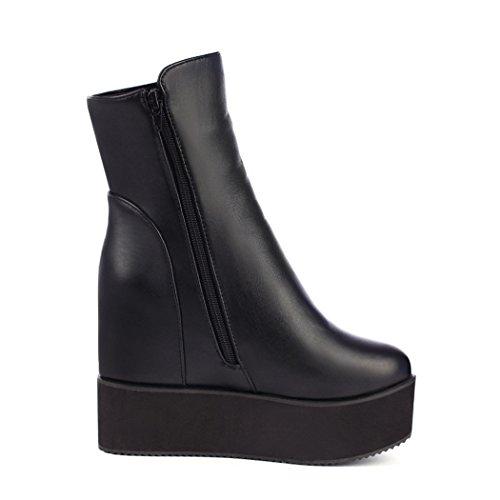 Stivali black ZQ del Stivali spessore QX e di in Cilindretto di femmina massa dell'aumento sul piana fondo corto In numero di inverno autunno lato Rgr8R4q
