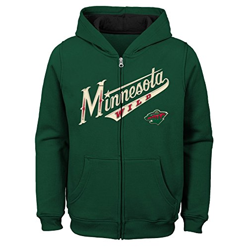 NHL Minnesota Wild Youth Boys Stated Full Zip Hoodie, Small(4), Dragon ()