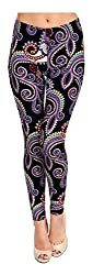 Viv Collection Regular Size Printed Leggings Purple White Paisley