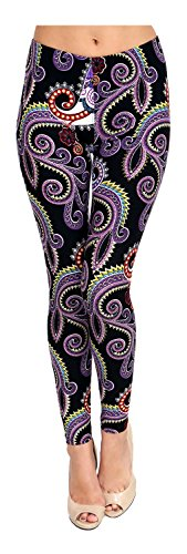 VIV Collection Plus Size Printed Leggings (Purple White Paisley)