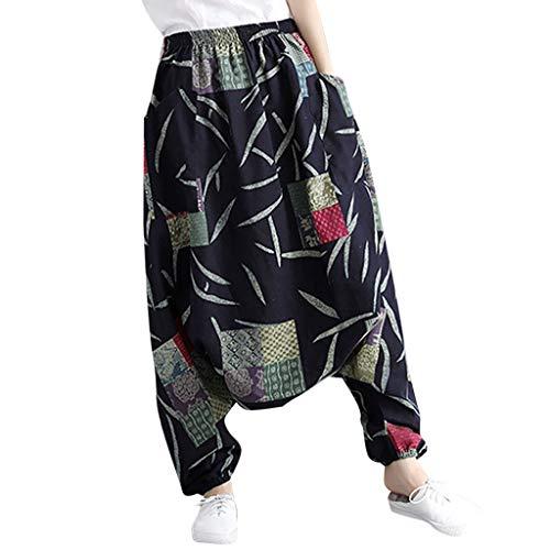 (Ximandi Womens Baggy Yoga Summery Print Hippie Boho Fashion Cotton Linen Harem Pants)