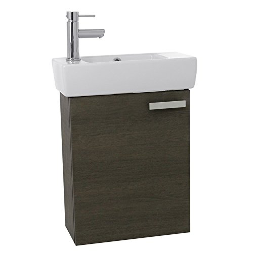 ACF C135 Cubical Space Saving Bathroom Vanity with Ceramic Sink Wall Mounted, 19