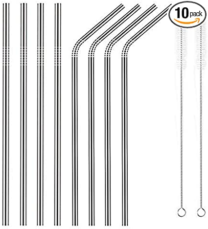 10.5 Inch Reusable Stainless Straws Steel Metal drinking Straws Long for 30oz