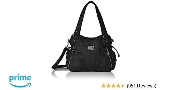 Amazon.com  Angelkiss Women Top Handle Satchel Handbags Shoulder Bag  Messenger Tote Washed Leather Purses Bag (BLACK) …  Shoes f4027fcf34d2e