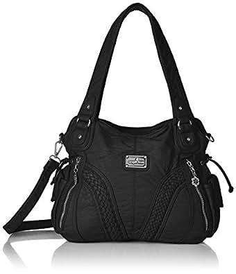 Amazon.com  Angelkiss Women Top Handle Satchel Handbags Shoulder Bag ... 1038dcd578563