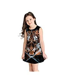 OCEAN-STORE Teen Toddler Kid Girl Summer T-Shirt 3D Print Cartoon Dresses Casual Clothes