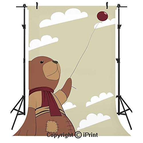 - Cartoon Photography Backdrops,A Melancholic Teddy Bear with Scarf Holding a Balloon Clouds in The Sky Clipart,Birthday Party Seamless Photo Studio Booth Background Banner 10x20ft,Beige Cinnamon