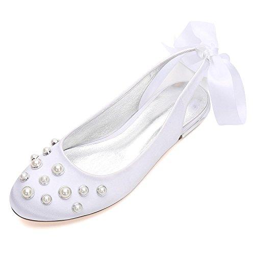 Bombas Las Perlas De White Mujeres L Apliques Almendra 5049 Boda Talones Encaje La Cinta yc Zapatos 24 Punta OIRRnq4x8