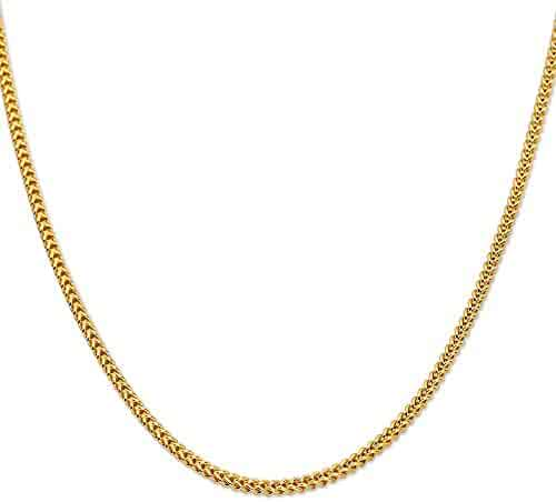 LOVEBLING 10K Yellow Gold 3mm Plain Hollow Franco Chain Necklace Lobster Lock