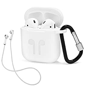 LIKDAY ll060 AirPods Case Strap Protective Silicone Cover Carabiner Apple Airpods Accessories (White)