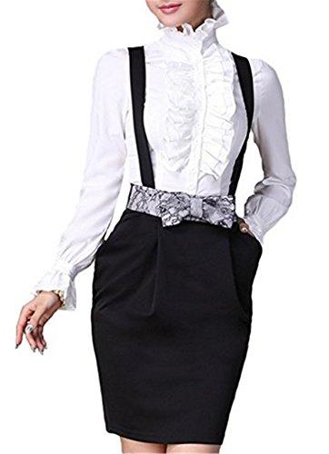 Con Cuello Weiß Blusa Diseño De Mujer Vintage Himone Para Volantes Alto xw4HYYZq