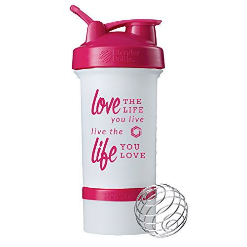 Love Life Prostak Blender Bottle, 22oz Protein Shaker cup with Twist N' Lock Storage (White/Pink)