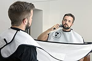 beard bib white shaving grooming apron hair catcher gift for men uk seller. Black Bedroom Furniture Sets. Home Design Ideas
