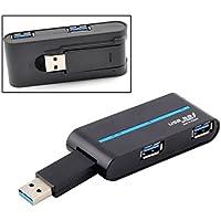 OLLGEN Ultra Portable Practical 4 Port High Speed Mini Rotatable USB 3.0 External Hub Adapter for PC Laptop Black