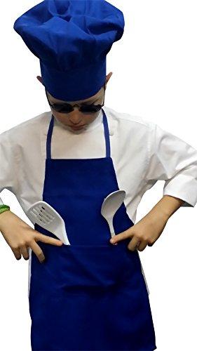 CHEFSKIN 1 Apron + 1 Adjustable Chef Hat, Soft, Live Colors, Ulltra Light Fabric, Kids Love Them (Teens/Adult, Royal -