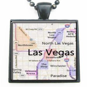 Las Vegas Nevada Map Glass Black Tile Pendant Necklace with Black Chain ()
