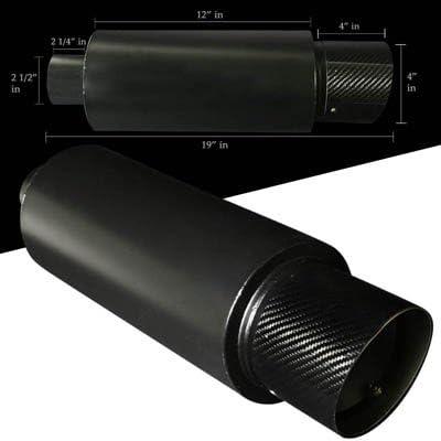 "4/"" Flat Burnt Tip N1 2.5/"" Inlet Stainless Steel Weld Exhaust Muffler Universal"