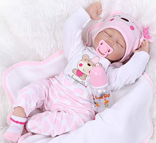 (Pinky 22Inch 55cm Lifelike Reborn Baby Girl Doll Soft Silicone Sleeping Baby Realistic Looking Newborn Doll Toddler Kid Birthday and Xmas Gift)