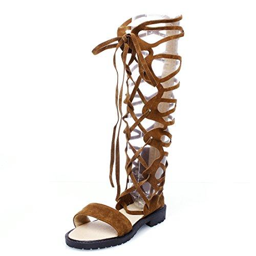YE Damen Offene Flache Langshaft Sommerstiefel mit Schnürung niedrigem absatz Reißverschluss Sandalen Schuhe Braun