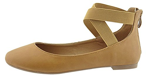 Tan Bella Round Over Ballet Marie Flat Ankle Women's Closed Strappy Cross Toe qCPwr7q