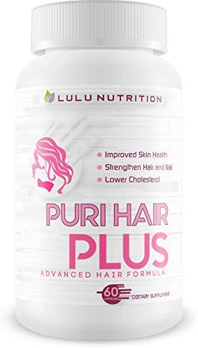 Puri Hair Plus Advanced Hair Formula - Re-Grow + Strengthen Hair and Nails with These Hair Skin and Nails Vitamins - Puri Hair Vitamins for Puri Hair Growth - Improve Skin Health - Puri Hair Regrowth