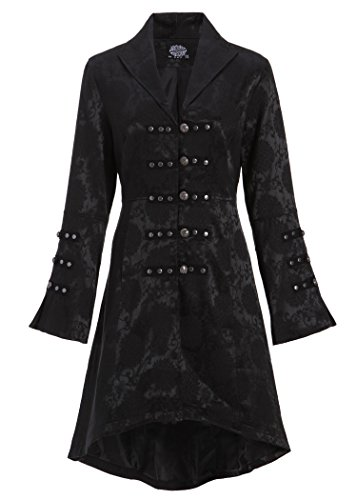 Womens Black Brocade Gothic Steampunk Floral Jacket Coat – Size US 16