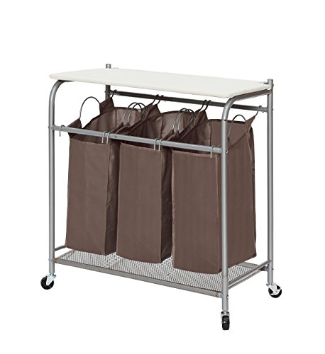 StorageManiac Heavy Duty 3 Bag Laundry Sorter Cart With Ironing Board And  Wheels Part 72