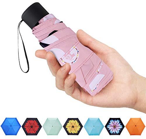 Fidus Ultra Light Mini Compact Travel Umbrella - Windproof Portable Parasol Sun & Rain Outdoor Golf Umbrella with 95% UV Protection for Women Men -dot Pink