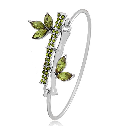 TUSHUO 3 Colors Simple Double Green Crystal Bamboo Bangle Bracelet for Women and Girls Gift (Silver) (Silver Bracelet Bangle Bamboo)