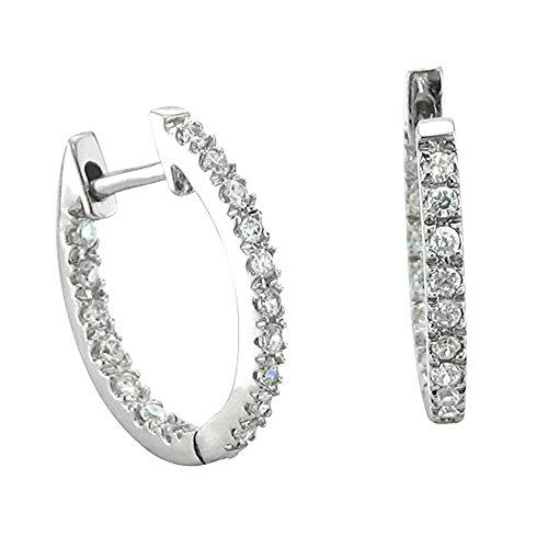 IGI Certified 14k White Gold Inside-out Hoop Huggies Diamond Earrings (1/4 Carat) Inside Out Diamond Hoop
