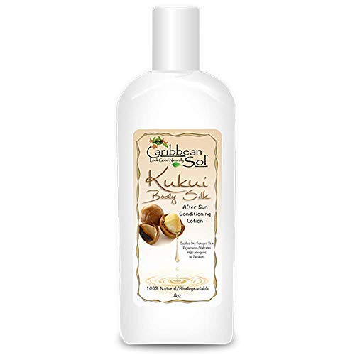 (Caribbean Sol Kukui Body Silk After Sun Conditioner Lotion 8 oz Organic Aloe, Hawaiian and Squalene Oil(olive) 100% Natural Reef Marine Safe 0081)