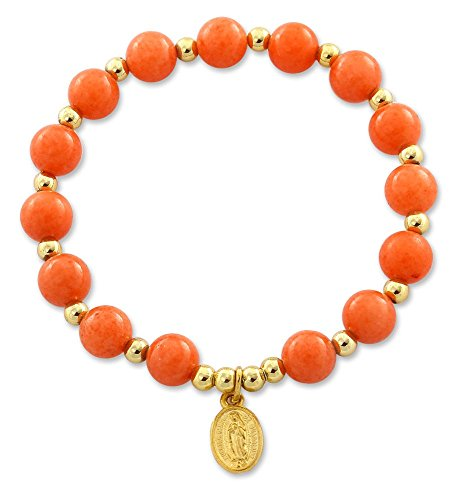 Mountain Jade Orange Beaded Bracelet with Lady of Guadalupe Gold Plated Medal