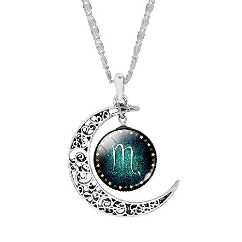 Silver Plated Crescent Pendant Necklaces Jewelry Zodiac for Women Cabochon Glass Necklace Collares 10