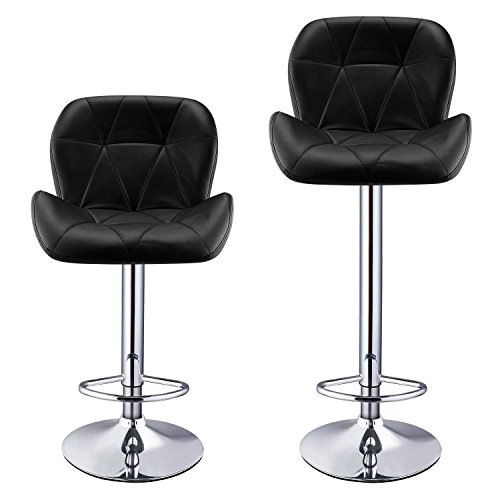 Asatr Bar Stools Leather Modern Hydraulic Swivel Dinning Chair Barstools, Set of 2, Black by Asatr