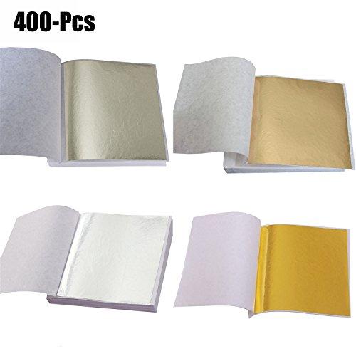 Coxeer 400PCS Imitation Leaf Foil Paper Gold Silver Leaf Sheet for Art Gilding Crafting Decoration