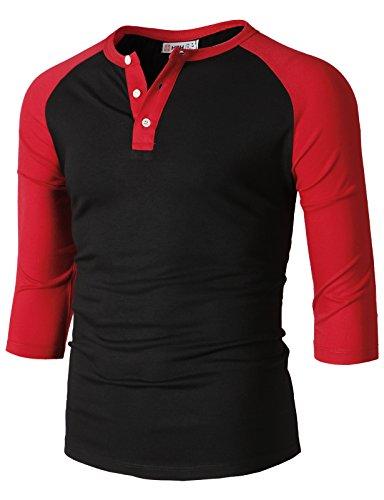 H2H Mens Casual Slim Fit Raglan Baseball Three-Quarter Sleeve Henley T-Shirts BlackRed US M/Asia L (CMTTS0229)