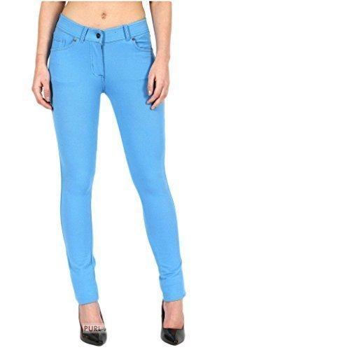 taille FASHIONCHIC fermeture habill Femmes couleurs ciel color skinny slim bleu 26 uni 18 clair coupe jeggings 8 pantalon lastique Curvy grande disponible ggr6wB