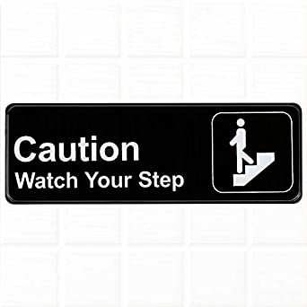 image regarding Printable Watch Your Step Sign known as Warning Keep track of Your Action Indicator - Black and White, 9\